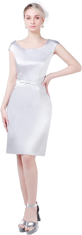 Newdeve Women's Formal Dresses Tea Length with Jacket Mother of The Bride Dresses Satin