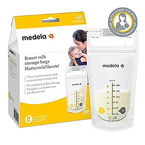 Medela Set of 180 ml Breast Milk Storage Bags - Pack of 50 BPA-free breast milk collection pouches with double zip, quick freeze and thaw