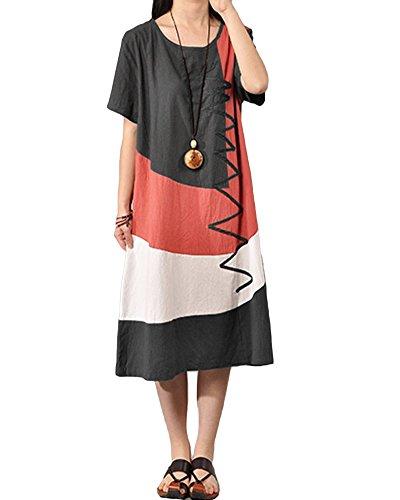 Romacci Damen Lose Midi Kleid Kurzschluss Hülsen Spleiß Kleid Dunkelgrau/Wassermelone-Rot S-5XL (Dunkelgrau, 4XL)