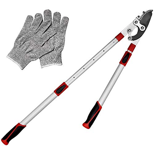 WEYCHEN Garden Telescopic Loppers 690 mm - 1030 mm Adjustable Telescopic Bypass Lopper Gear Lopper for Branches with 60 mm Diameter, Non-Stick Coating, Schwarz/Rot
