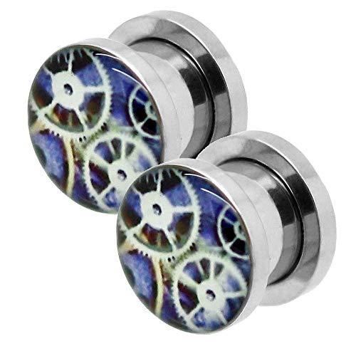 2 piezas Expansor Túnel Flesh Tunnel Plug Piercing reloj aparato de relojería 3 mm