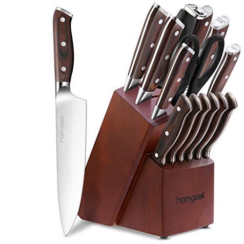 homgeek Couteaux de Cuisine, 15 Pièces Set de Couteaux Professionnels avec Bloc en Bois, Ensemble de Couteaux Fabriqué en Acier Inoxydable Allemand 1.4116