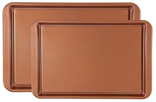 Chef Select Bake Sheets, Set of 2, 15'x10' and 17'x11', Commercial Grade, Steel, Copper, Non-Stick, Great for Cookies, Vegetables, or as a Serving Tray
