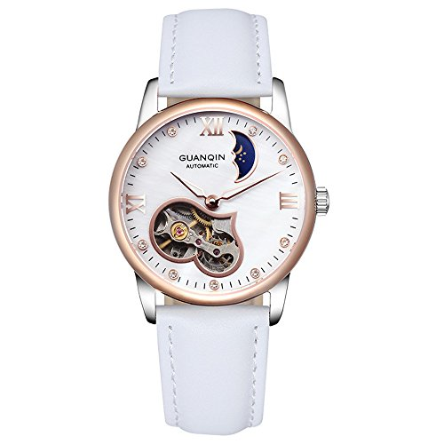 Guanqin populaire Marque tendance Squelette analogique Femme automatique remontage mécanique étanche phases de la lune véritable Bande de cuir montre bracelet Design unique Or blanc