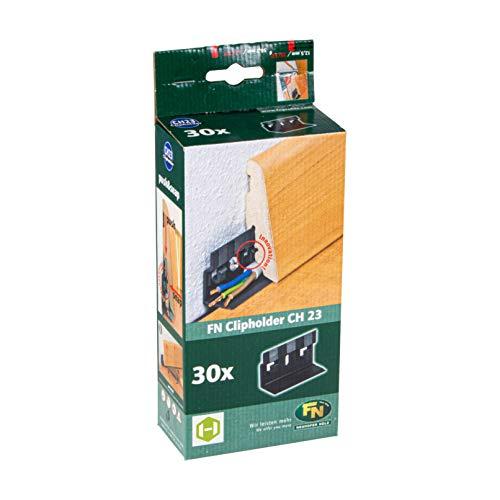 Gedotec Clipholder CH23 Befestigungsclips für Sockelleisten mit Kabelkanal | Unsichtbare Winkel-Befestigung | Kunststoff schwarz | 1 Packung mit 30 Stück Montage Leisten-Clips mit Schrauben & Dübel