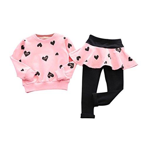 Brightup Ragazza Cotone Cardigan Manica Lunga T-Shirt + Gonna Pantaloni Leggings Tuta