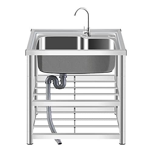 Kommersiell catering diskbänk, enkel diskbänk i rostfritt stål, köksavdelning för hushåll med konsol, med konsol, kran