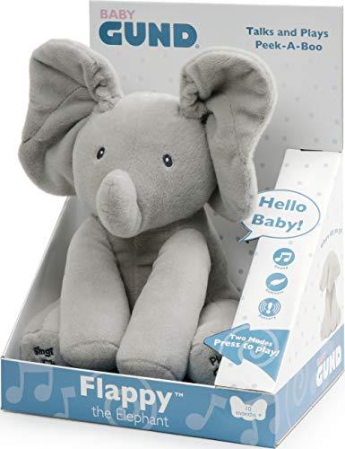 GUND Flappy Elefantino Peluche Interattivo Parlante, 30.5 cm, 2 Modalità di Gioco, da 10 Mesi
