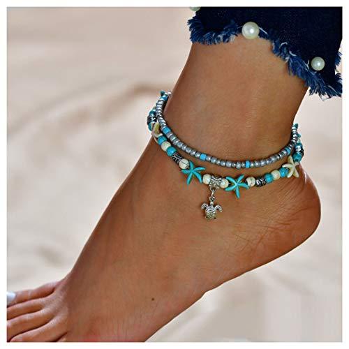 Tobillera de plata con perlas y estrellas de mar de Handcess Boho pulseras de tobillo de cristal para mujer y ni/ña 2 unidades