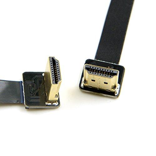 Cablecc CYFPV HDMI-Kabel (90 Grad abgewinkelt, HDMI-Stecker auf Stecker, HDTV, FPC-Flachkabel, 50 cm, für FPV HDTV Multicopter Luftfotografie