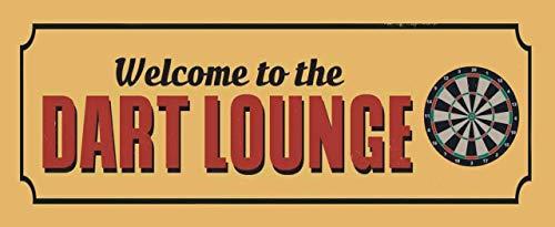 Blechschild 27x10cm gewölbt Welcome to The Dart Lounge Deko Geschenk Schild