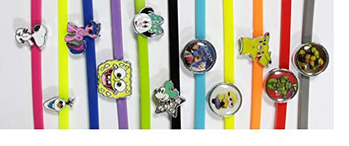 Shannon's Chixx Poultry Leg Bands (10 Cartoon Characters) with Bling Charms - Easy to Put On Your Chickens or Ducks to Make it Easy to Tell Them Apart.