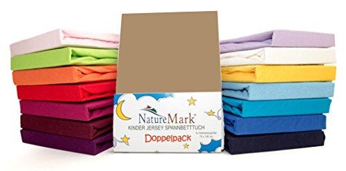 2er Sparpack Kinder Spannbettlaken Jersey 100% Baumwolle für Kinderbettmatratzen ÖKO Tex Geprüft- Gr. 70 x 140 cm, Sand / Cappuccino