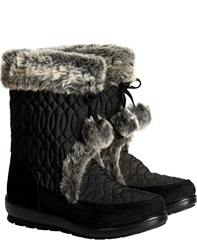 Anna Almeida Womens Casual Round Toe Slip On Fur Top Quilted Pom Pom Laces Cold Weather Mid Calf Boot,Black,8.5