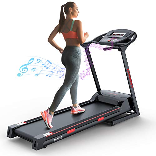 GYMOST Folding Treadmills for Home, Large Running Machine Teadmill with Music Speaker, Electric Treadmills for Running and Walking Jogging Exercise with Manual Adjustable Incline -Black