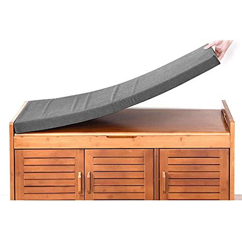 Waigg Kii Cojín de banco de 2 plazas, 80/100/120 cm, cojín largo para silla de banco para jardín, columpio de patio, comedor cocina (100 x 35 x 5 cm, gris oscuro)