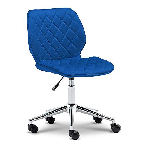 Apelila Home Office Chair, Modern Tufted Velvet Mid-Back Swivel Adjustable Desk Chair Task Executive Computer Chair Blue Reception Chair