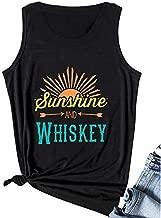 Calvin&Sally Women Sunshine and Whiskey Shirt Letters Print Graphic Summer Sleeveless Vest Funny Tank Tops (Black-L)