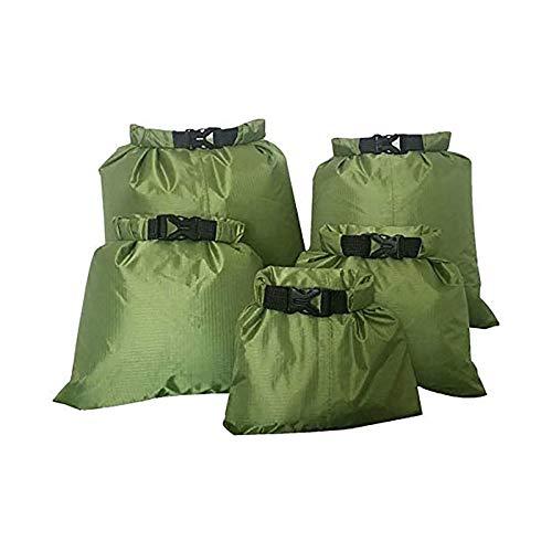 Juego de bolsa seca impermeable ligero para playa, 1,5 l, 2,5 l, verde militar