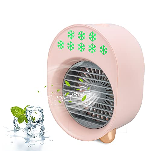 Mini Cooling Personal Fan Powered by USB (PINK),Portable Air Conditioner Cooler Humidifier for Home Office Dorm and Make-up Speed Dryer