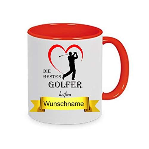 Crealuxe Tasse m. Wunschname Die besten Golfer heißen. Wunschname - Kaffeetasse mit Motiv, Bedruckte Tasse mit Sprüchen oder Bildern