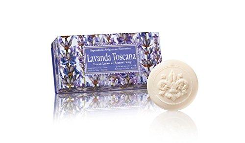 Lavendelseife, rund 6 St 50g, handgemachte italienische Seife aus Fiorentino, mit dekorativer Prägung