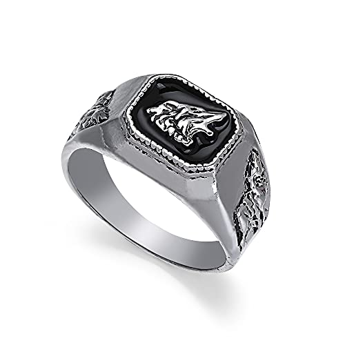 Hip-Hop estilo europeo y americano cuadrado punk oro/plata anillo de hombre tallada cabeza de lobo(10)