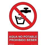 Señal Agua No Potable PVC 21x30 cm Rojo
