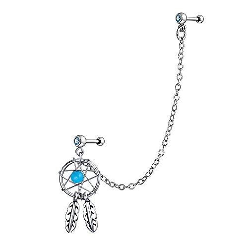 Bling Jewelry Dream Katzecher Kette Aqua Bead Double Single Ohr Piercing Ohrstecker OhrKlemme Ohrring Für Damen Knorpel Stud 316L