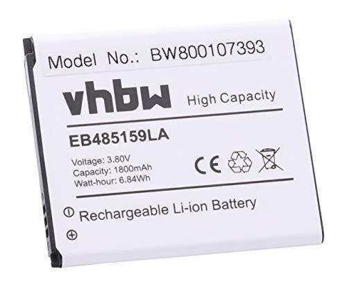 vhbw Li-Ioni Batterie 1800mAh (3.7V) per Smartphone Samsung Xcover 2 II GT-S7710 come EB485159LA, EB485159LU.