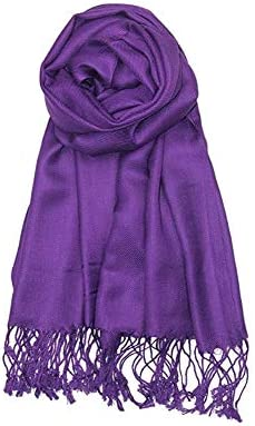 AN Womens Pashmina Shawl Scarf with Tassels Silk Soft Fashion Accessory product image