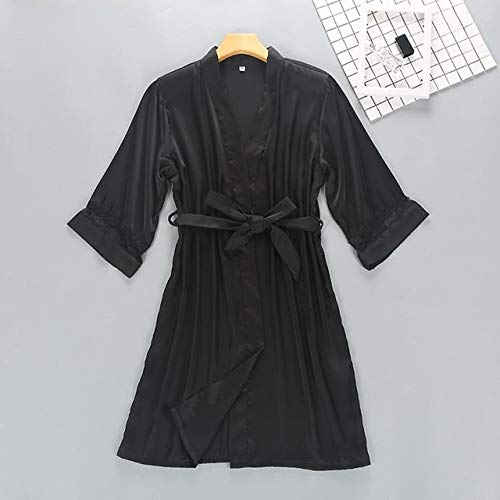 KASLXA Albornoz Kimono Sexy para Mujer, Bata Blanca de Novia para Dama de Honor, Conjunto de Bata de Boda con Adornos de Encaje, Ropa de Dormir Informal para el hogar, Ropa de Dormir-a43-XXL