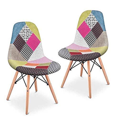 Mc Haus SENA Patchwork - Pack 2 sillas de comedor, diseño patchwork tapizado, sillas tower para salon, cocina y oficina, estilo retro, multicolor rosa, 49x46x84cm