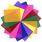 SAKOLLA 16 Pack Color Correction Gel Light Filter - Transparent Color Lighting Gel Filter Plastic Sheets, 8.5 by 11...