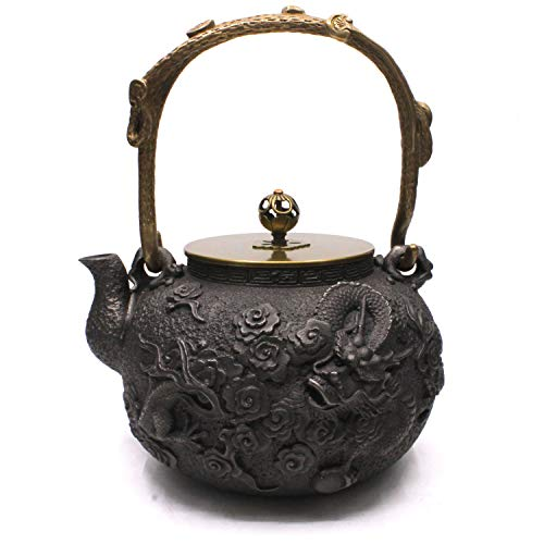 Sotya Japanese Tetsubin Cast Iron Teapot Tea Kettle for stove top with infuser and Insulation Handle (Black/dragon pattern)