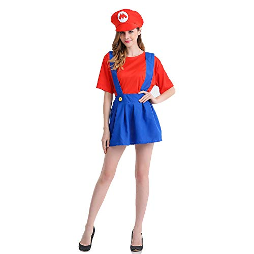 CAGYMJ Dames Halloween Kostuum, Geschikt voor Volwassen Vrouwelijke Mario Game Anime Robes Pak Cosplay Retro Dress,Kostuum Party Game Uniform