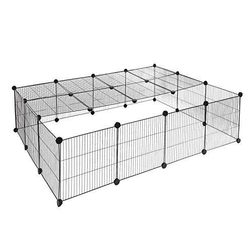 EUGAD 0012WL Freigehege DIY Laufstall Laufgitter Welpenauslauf Kunststoff-Stahlgitter Kleintiere wie Hase Kaninchen Meerschweinchen 147x111x37cm