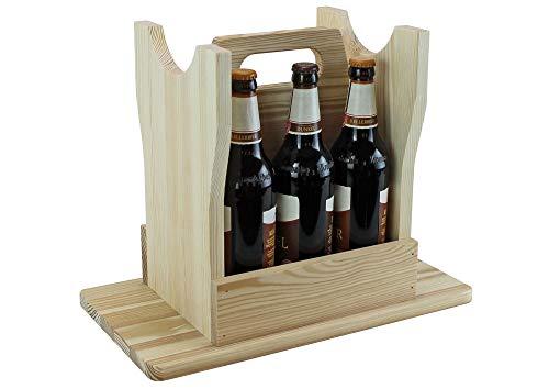 UTI GmbH Flaschenträger - Bierhocker aus Holz, naturbelassen - für 6 Flaschen - Männerhandtasche - Geschenkidee