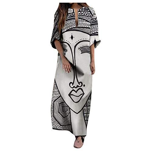 Dasongff Damen Tunika Kleid Vintage Baggy Boho Lang Maxi Kleid Lustige Sommerkleid Kaftan Etuikleid Große Größen Strandkleider