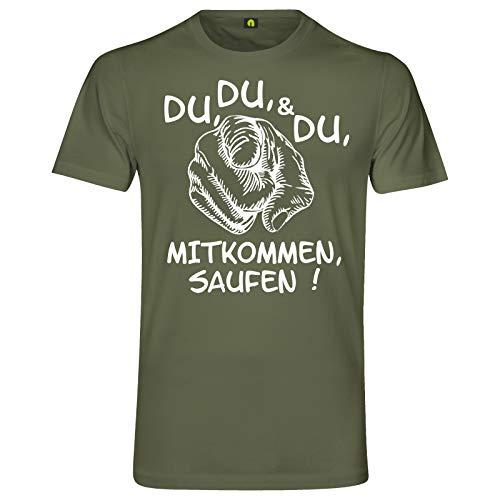 Du Mitkommen Saufen T-Shirt   Alkohol   Bier   Freunde   Party   Wodka   Vodka Militär Grün S