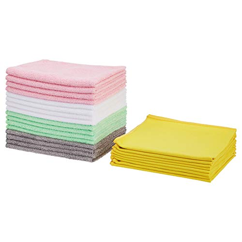 Amazon Basics Multi-Purpose Microfiber Cleaning Cloths and Glass Cleaning Cloths Bundle - 24-Pack, Assorted Colors
