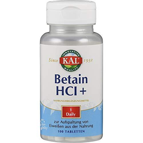 KAL Betain HCL Complex | 250 mg | 100 Tabletten | glutenfrei | ohne Gentechnik | laborgeprüft | Nahrungsergänzungsmittel Betainhydrochlorid, Pepsin & Calcium | Aufspaltung von Eiweißen und Fetten
