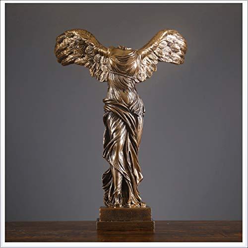La Victoria alada de Samothrace Sculpture, Tradicional Casa Interior Arte Decoración, Material de Resina, 15.7 Pulgadas,1 artículo,Brass,15.7x11inx7.8in