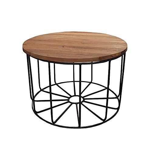 Meubletmoi - Tavolino rotondo con base in metallo nero e ripiano rimovibile in legno di teak D.65 cm