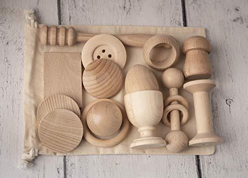 Cesto Tesoros Montessori Artesano, 14 piezas de madera, juego bebé 6 meses