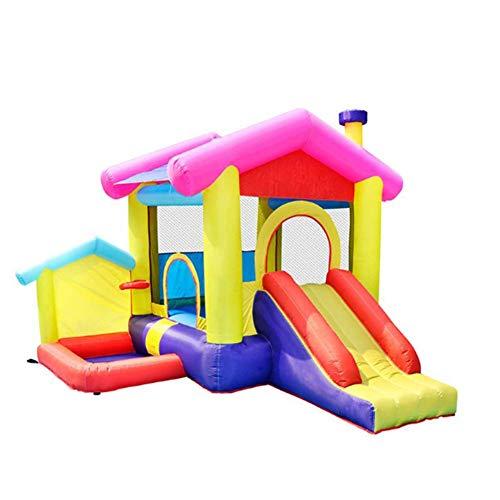 WYJW Aufblasbares Trampolinbett für Schlösser im Außen- und Innenbereich mit Rutsche, Hüpfparks mit Sicherheitsnetz, Platz für 2-4 Kinder (320 x 285 x 243 cm)