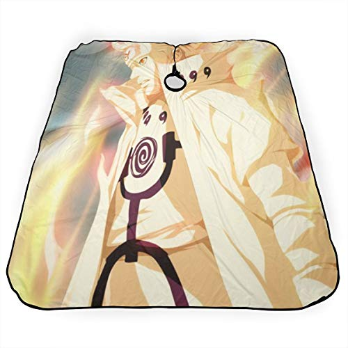 Uzumaki Naruto Namikaze Minato Uzumaki Kushina Delantal de corte de pelo profesional peluquero teñido capa estampada estilo negro peinado artista champú poliéster adulto mujer hombre 55 x 66 pulgadas