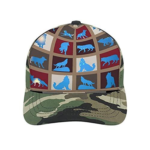 Gorra de béisbol retro vintage con diseño de lobos de lobo y estrellas azules, gorro de algodón de poliéster para papá unisex
