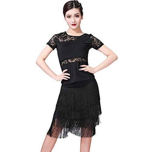 ChYoung Tanzkostüme für Damen Damen Mädchen, Ärmeloberteile und Quastenröcke Latin Dance Outfits