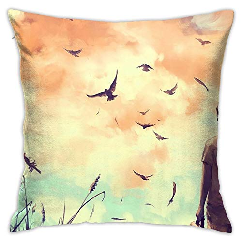 Lrealuy Pillowcase Throw Pillowcovers Cushion Cover Birds Children Feathers Double-Sided Printing Autumn Pillow Pad for Home Decoration